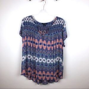 Lucky Brand Boho Colorful Sleeveless Blouse XL